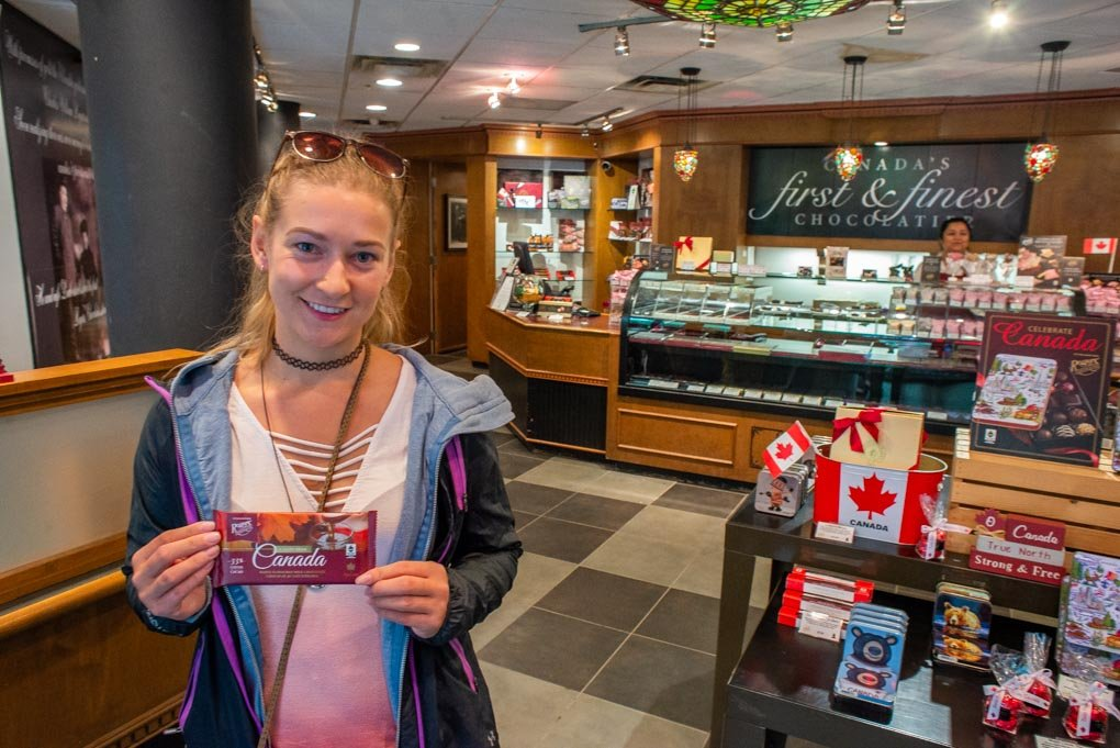 inside roger's chocolate store in Whistler on mainstreet