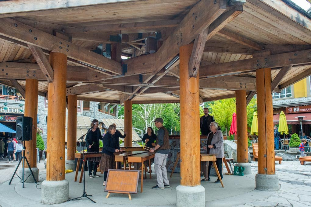 a band playing along the Whistler stroll in Whistler, BC