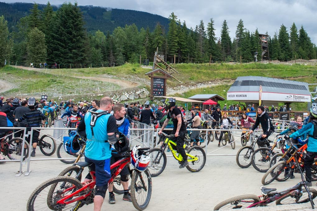 at the bottom of the downhill mountain bike park in Whistler, BC