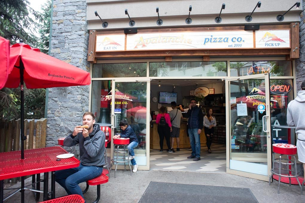 The outside of Avalanche Pizza in Whistler