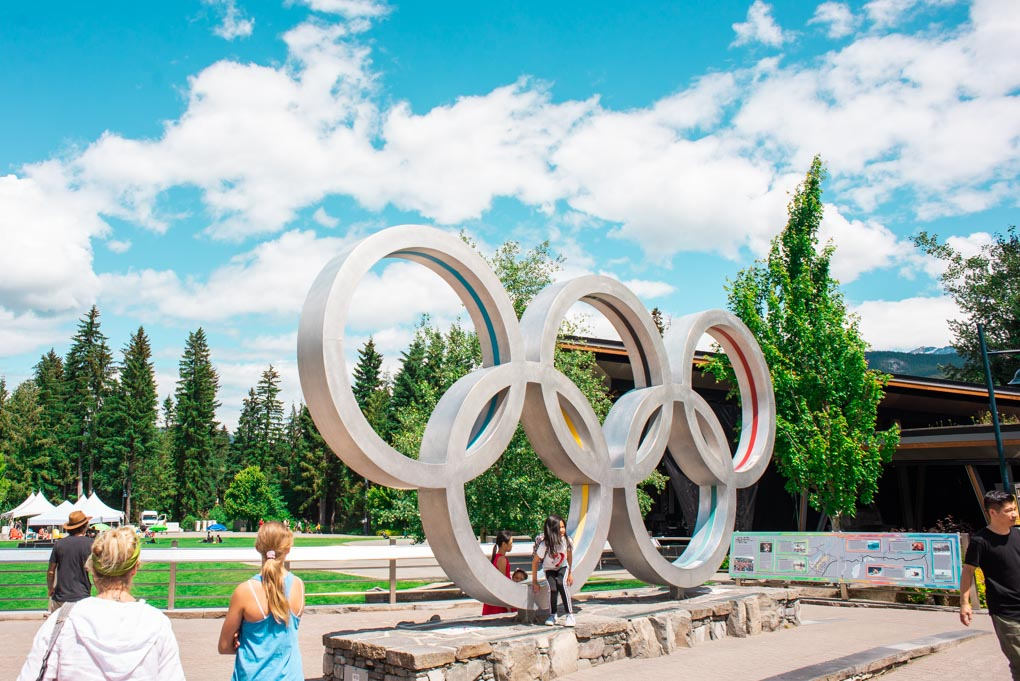 The olimpic rings in Whistler town center