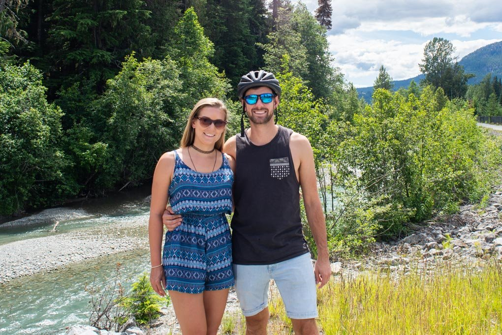 Bailey and Daniel pose for a photo in Whistler, BC