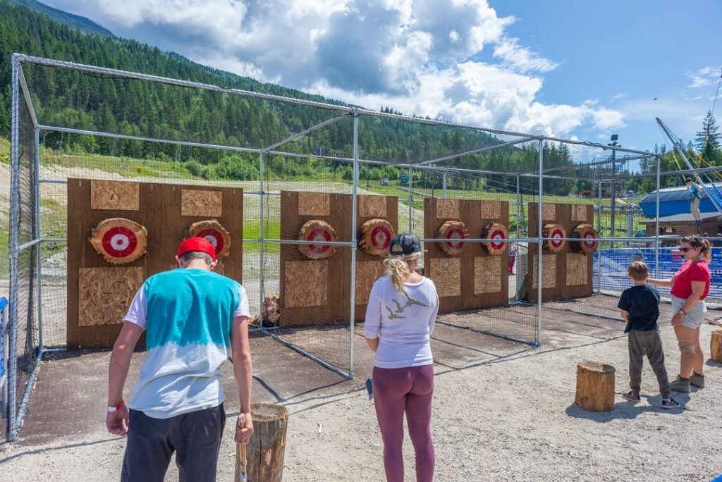 The axe throwing at the bottom of the Revelstoke Mountain Resort
