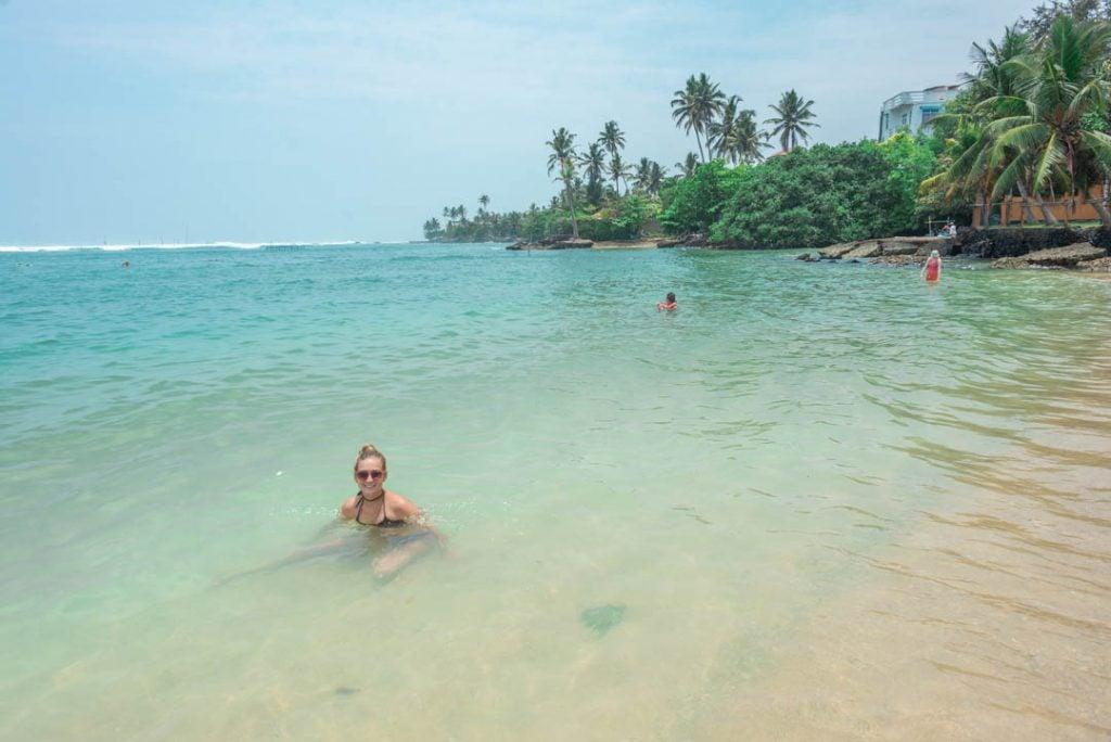 enjoying the shallow waters of Polhena Beach, Sri Lanka