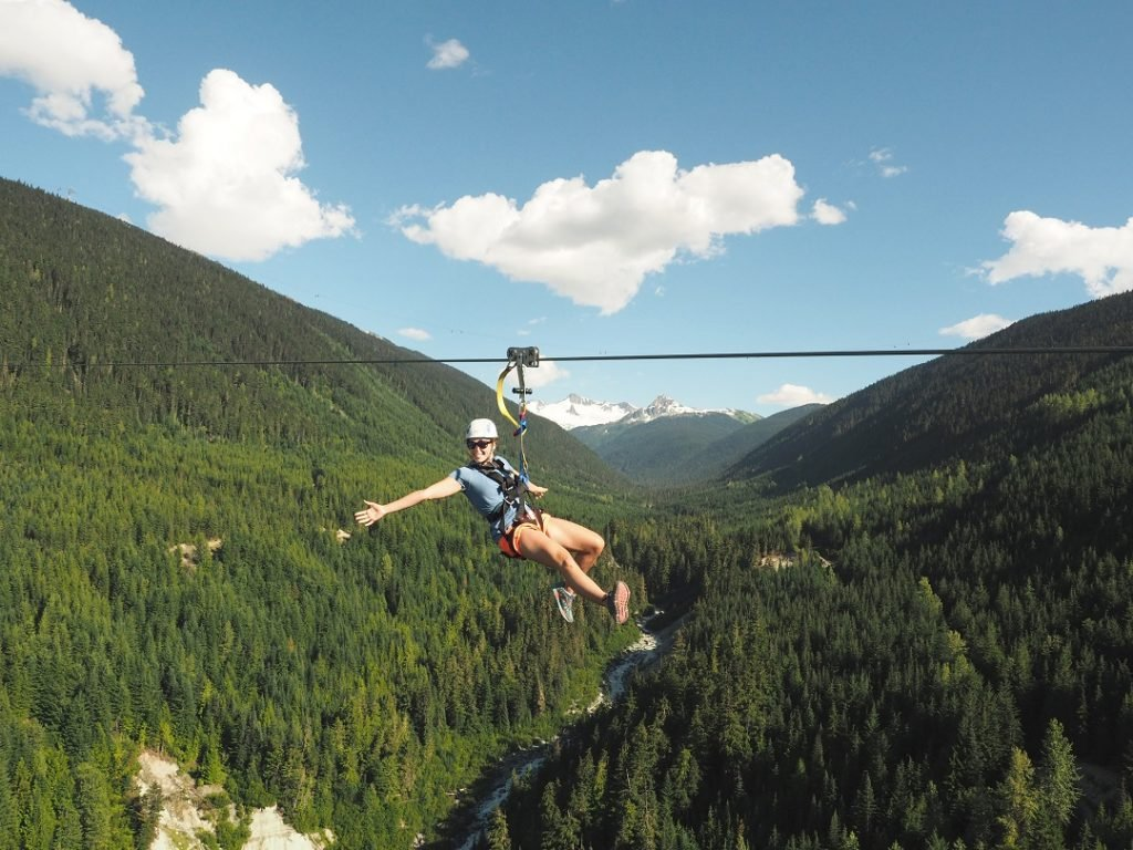 Ziplining in Whostler