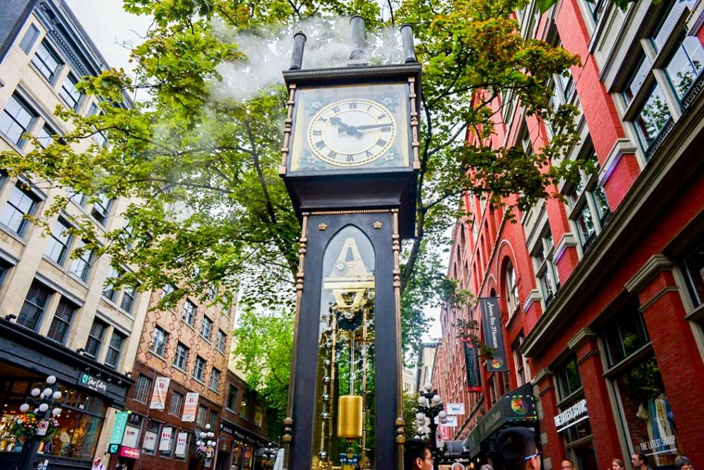 The famous steam clock in Vancouver that we visited on our food tour through Gastown, Vancouver