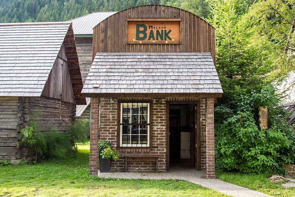 heritage ghost town bank near Revelstoke