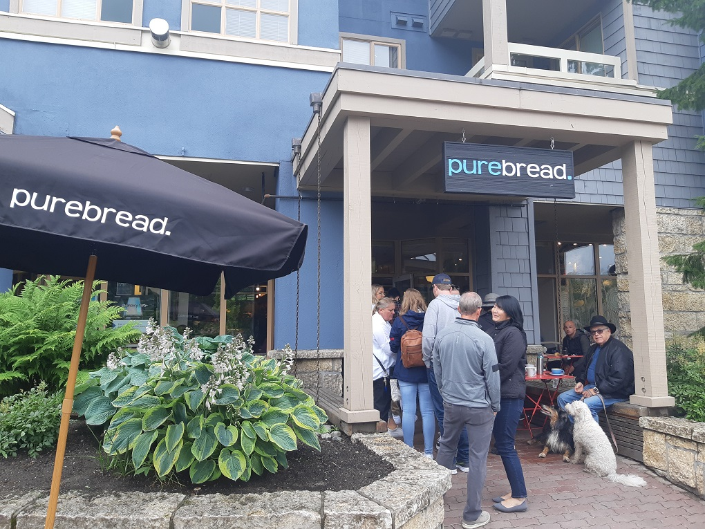 purebread shop front in Whistler, BC on mainstreet