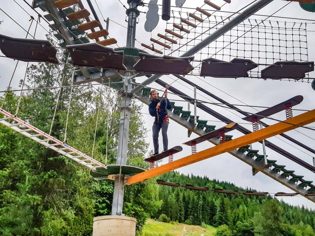 Daniel has a go at the Arial Park in Revelstoke
