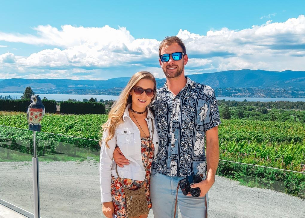 Bailey and Daniel take a photo together at another winery in Kelwona
