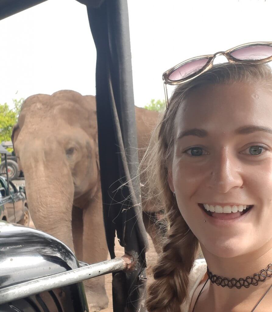 Selflie with an elephant in Udawalawe National Park, Sri Lanka