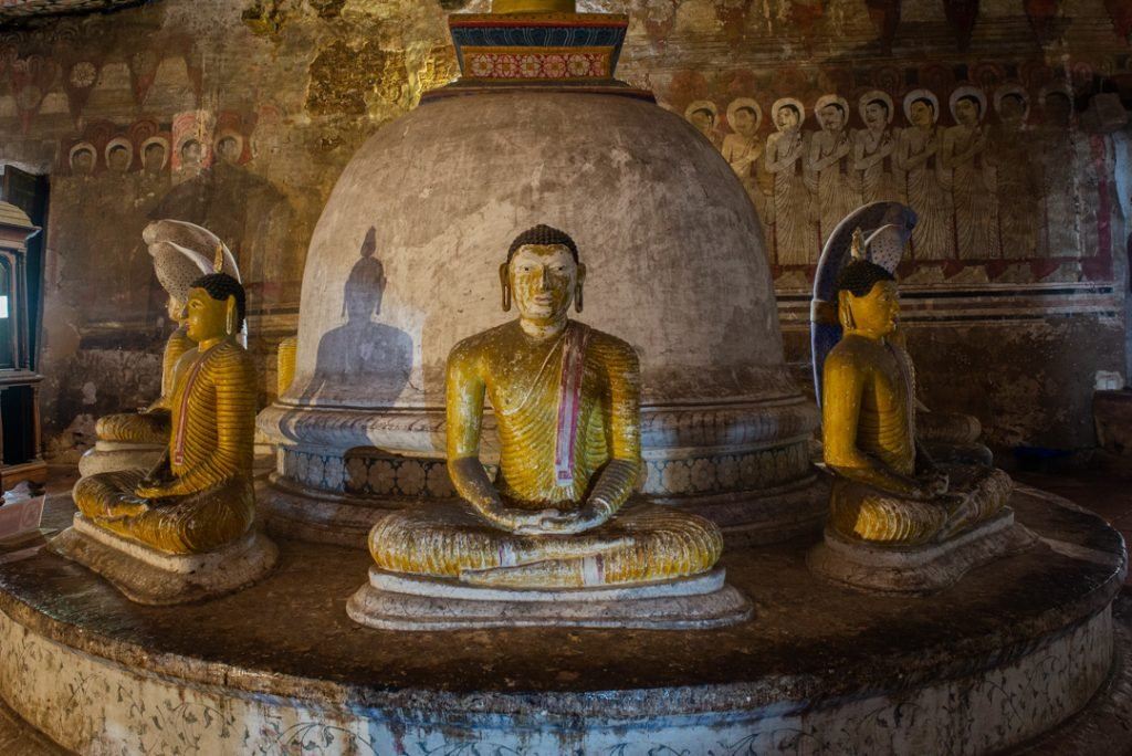 More Buddha statues in the cave temples in Dambulla
