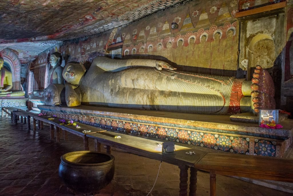 A laying buddha in the cave temples in Sri Lanka
