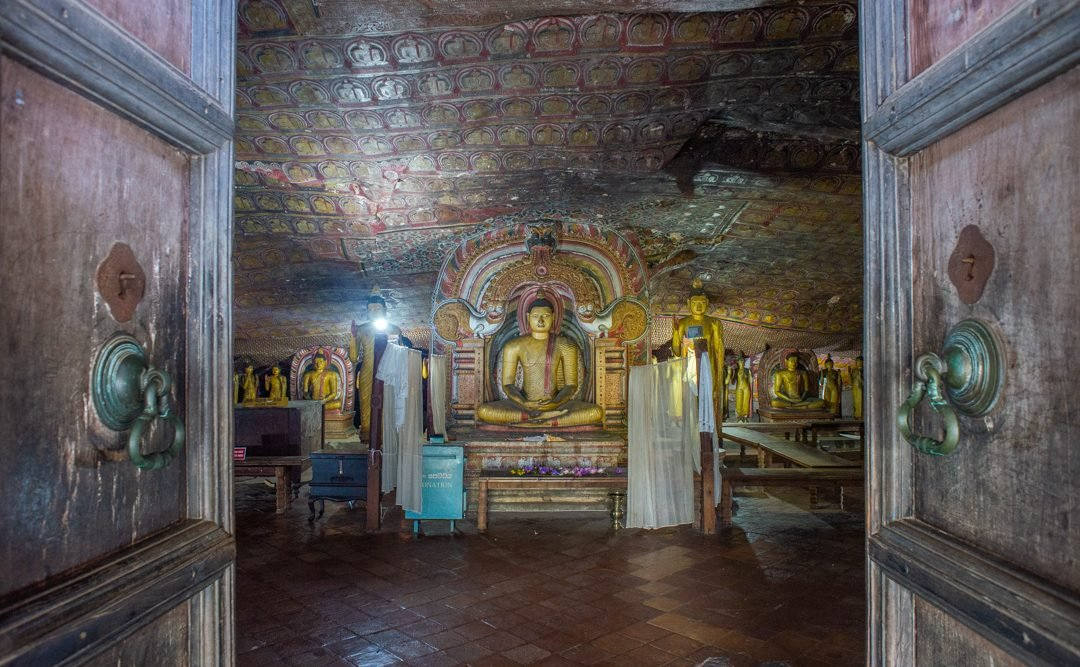Entering the cave temples in Dambulla