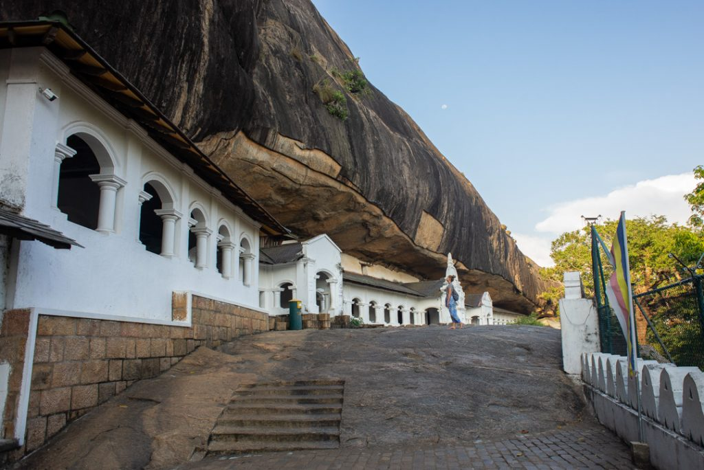 The outside of the Dambulla Rock Temples in Sri Lanka