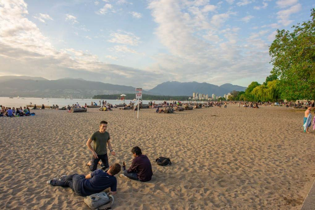 Kitsilano Beach, Vancouver at sunset