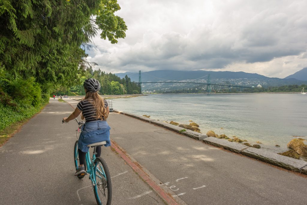 Biking the sea wall in Stanley Park, Vancouver