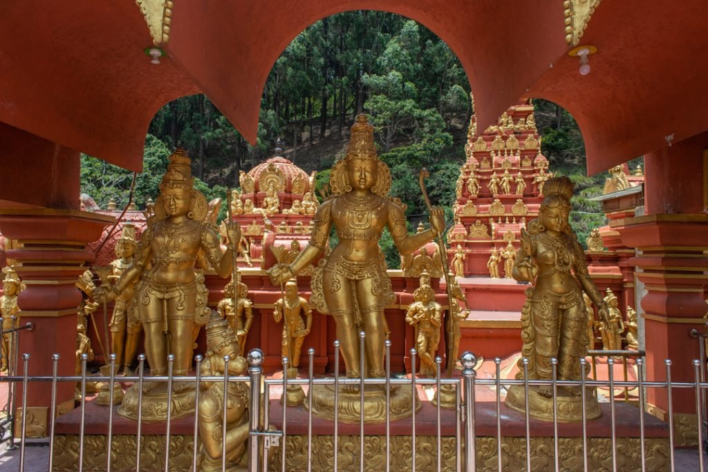 Sankhagiri Maha Viharaya Golden Hindu Temple jut outside of Nuwara Eliya, Sri Lanka