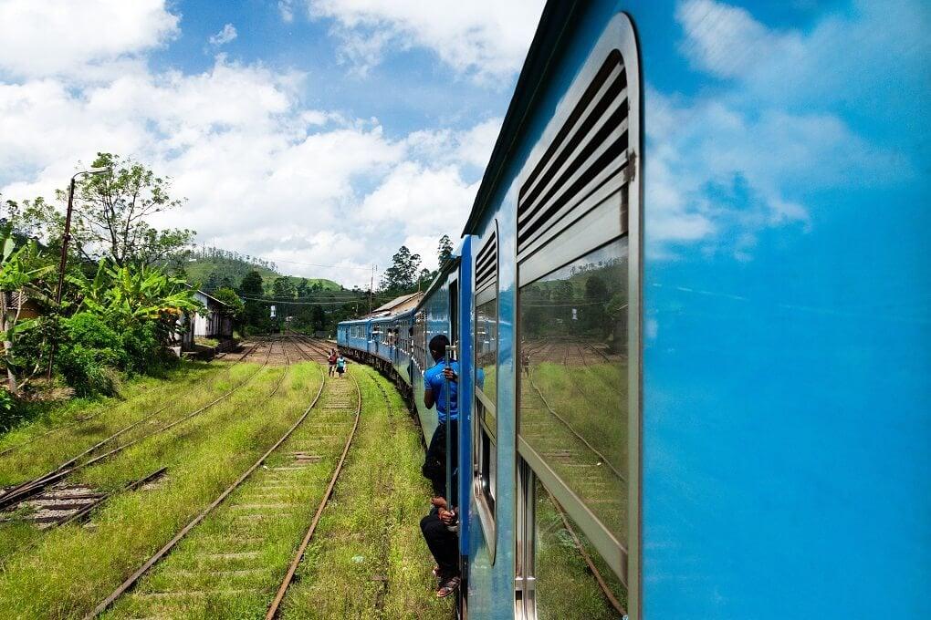 riding on a train near Kandy, Sri Lanka