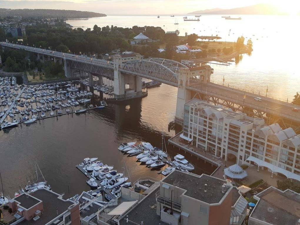 view of vancouver and granville island from above