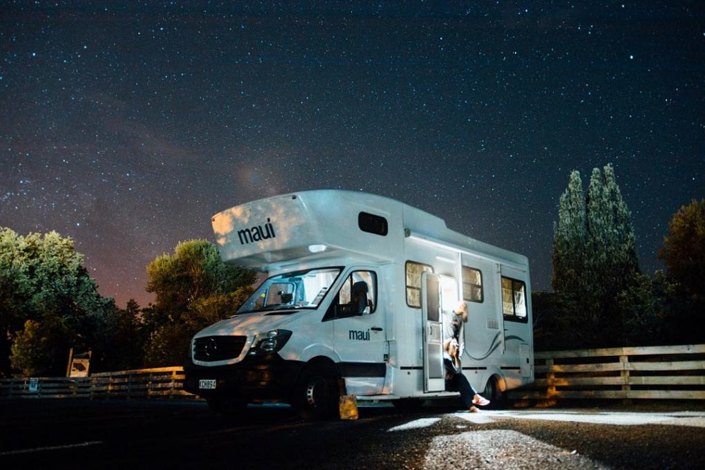 A NZ Motorhome hire at night in a freedom camping spot