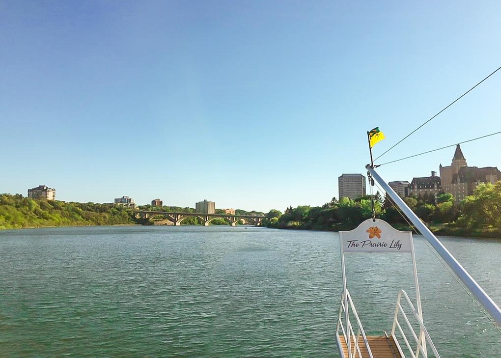 Looking out the front of the Prarie Lilly boat on our cruise in Saskatoon, SK