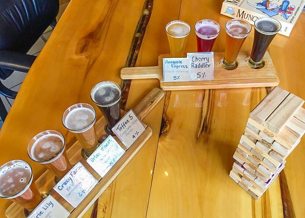 A beer sampler at Prarie Sun Brewery in Saskatoon