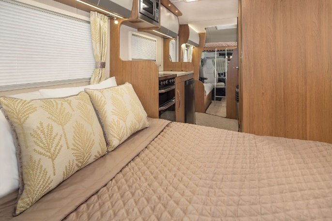 inside of a motorhome bed