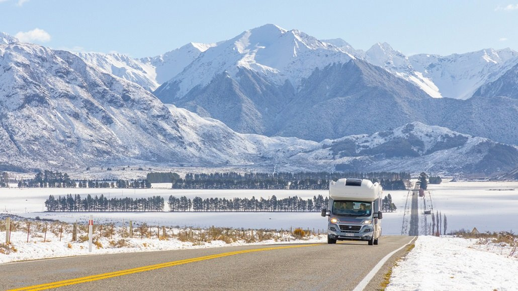 A motorhome drives from Christchurch to Queenstown