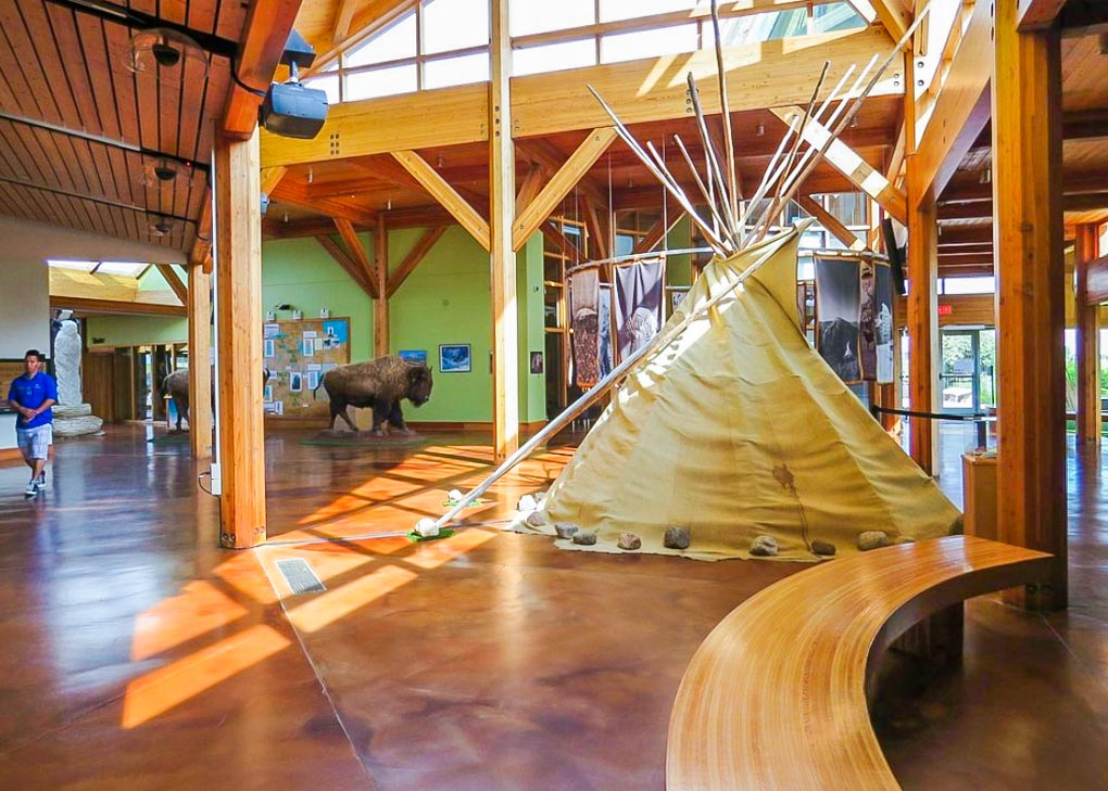 The inside of Wanuskewin Heritage Park museum