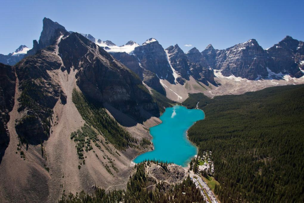 The views of Lake Lousie from a scenic flight in Banff