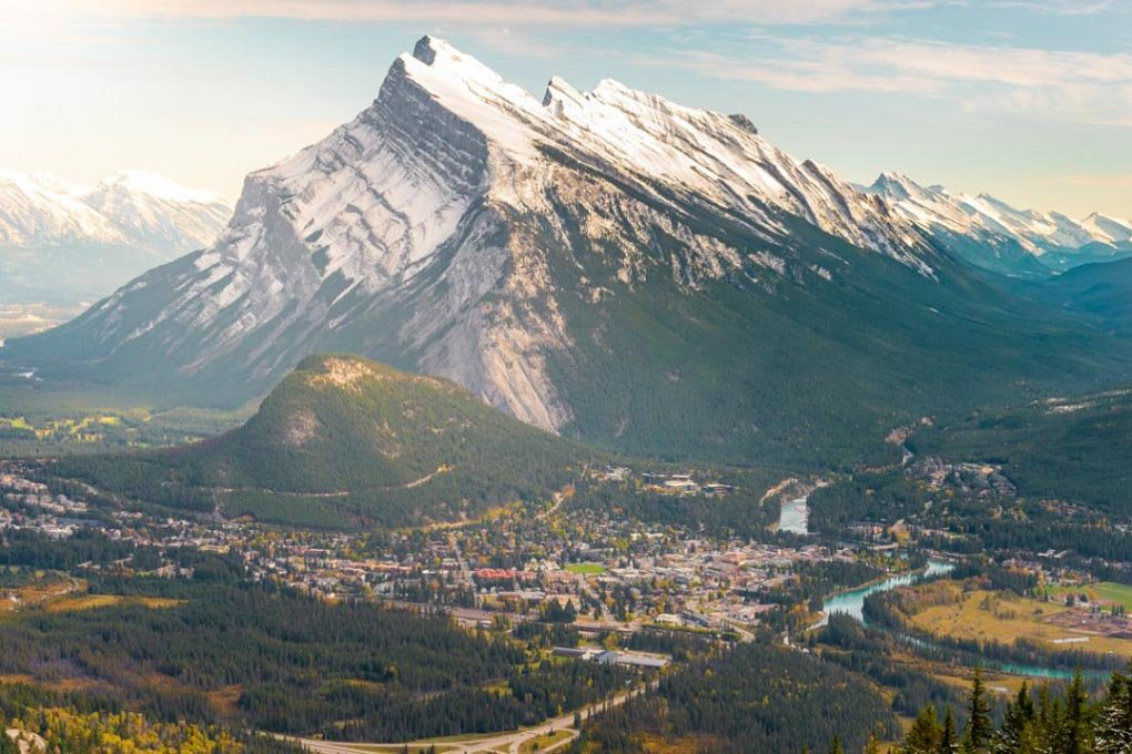 The view of Banff town from Mt Norquay with Mt Rundle in the background