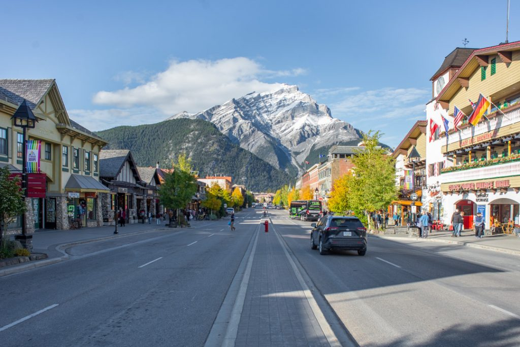 The main street of banff during a warm summers day, Banff Ave