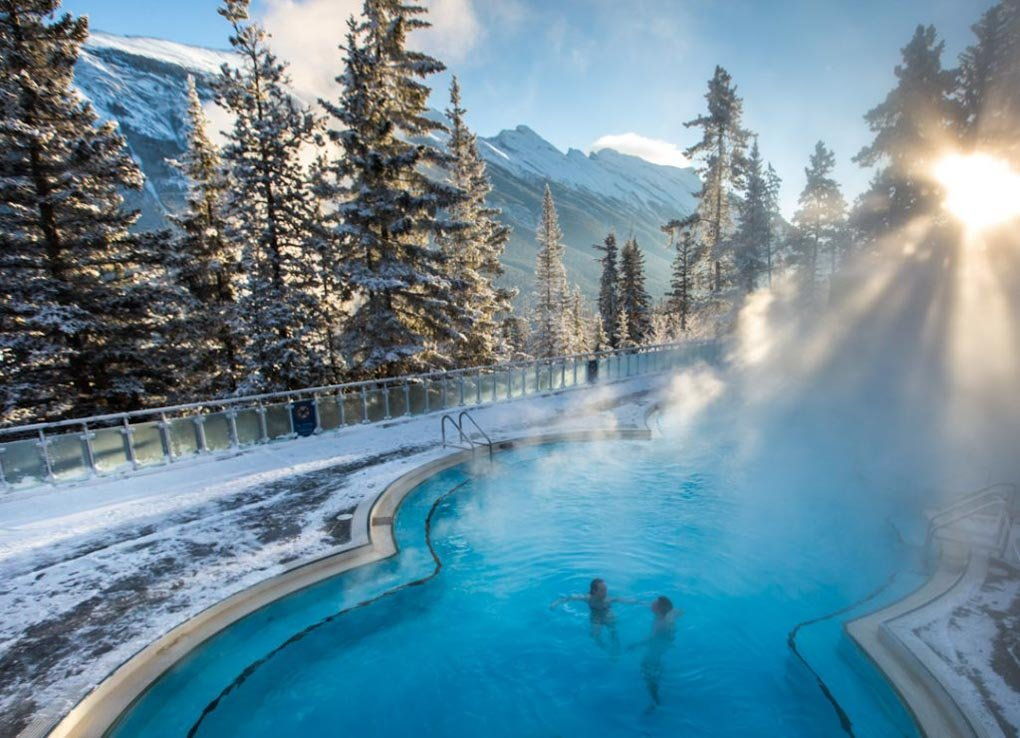 Banff Upper hot Springs on a cold winters day during a honeymoon in Banff, Canada