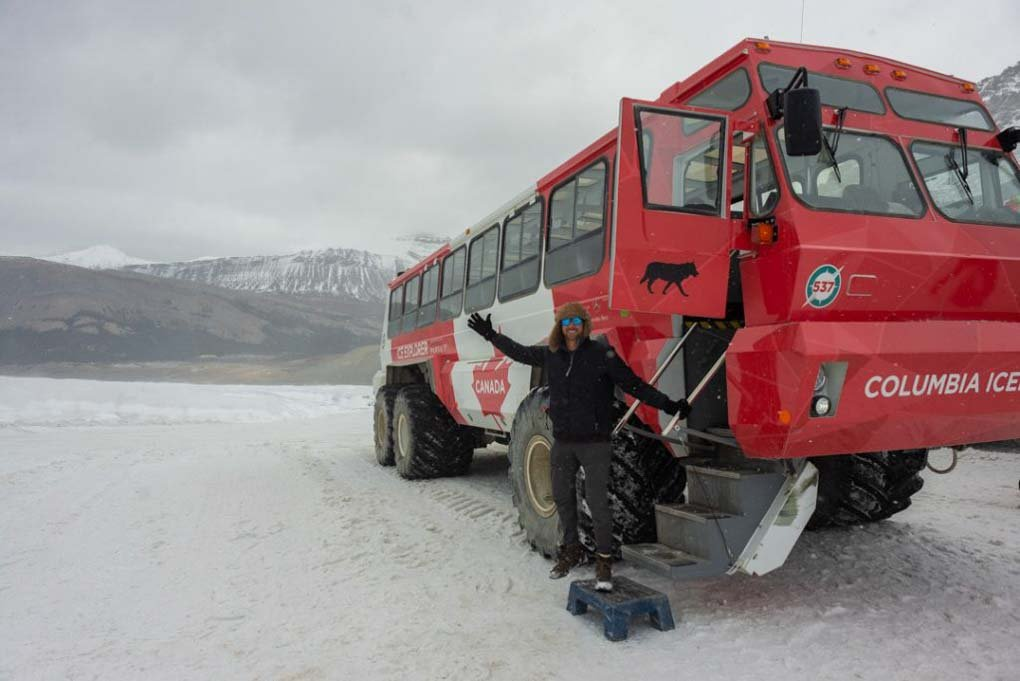 Getting out of a truck on the Athabasca Glacier