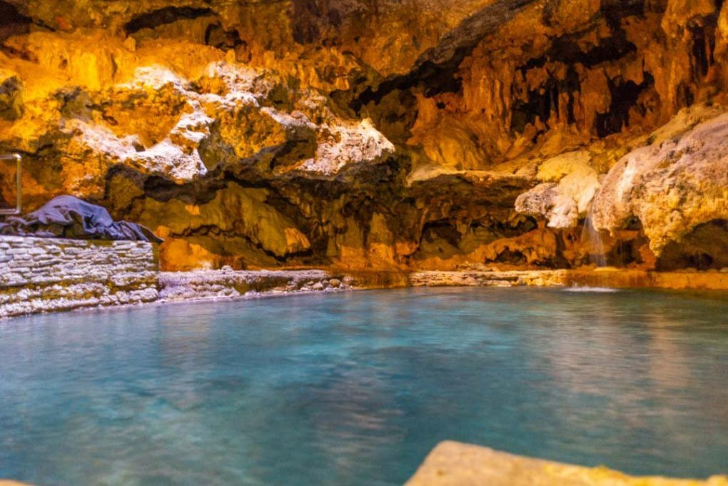 The underground pool at the Cave and Basin historic site in Banff