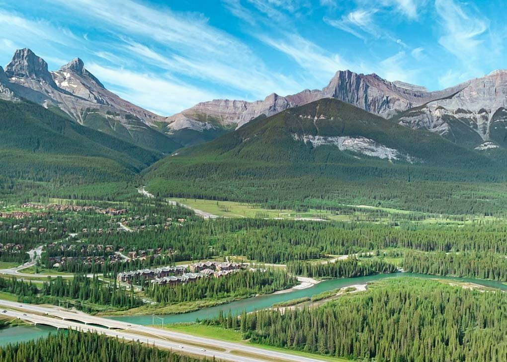 View from a helicopter looking out over the mountains around Banff, Canada