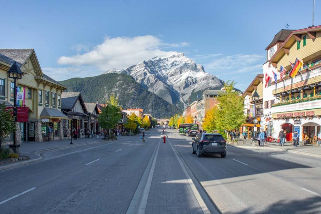The main street in banff, canada called Banff Ave on a sunny day!
