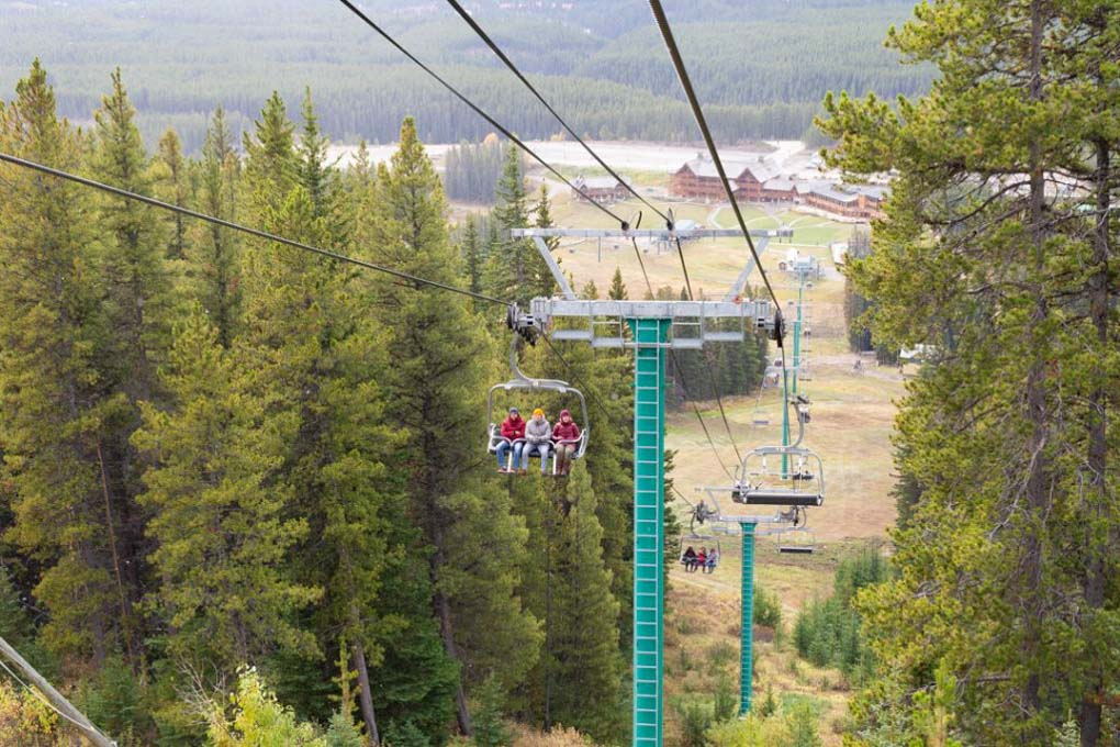 Riding up to the top of Lake Louise ski resort for some wicked views!