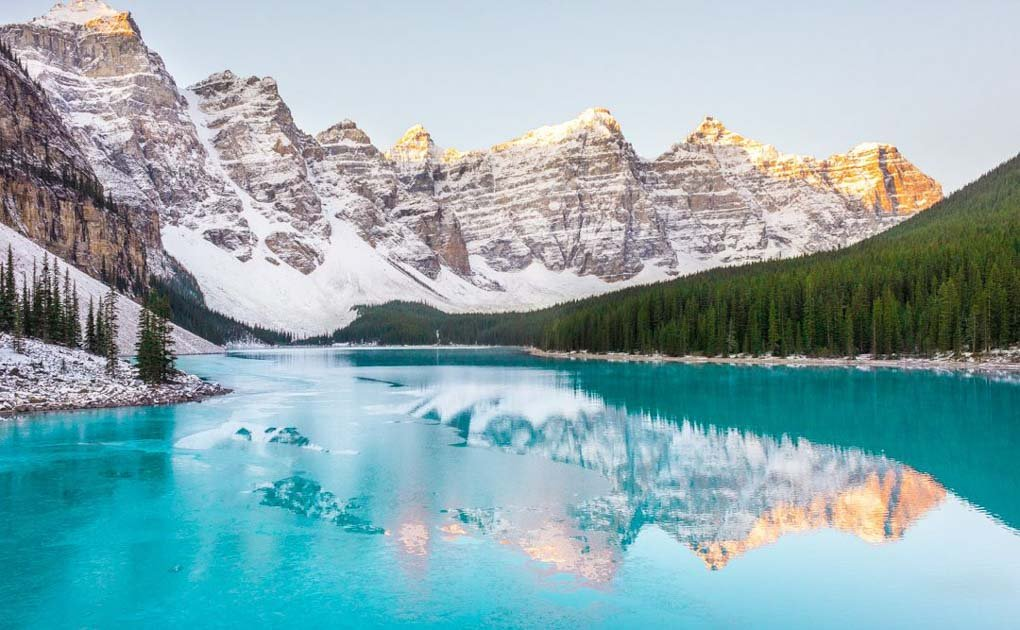 Lake Moraine near Banff Canada at sunrise