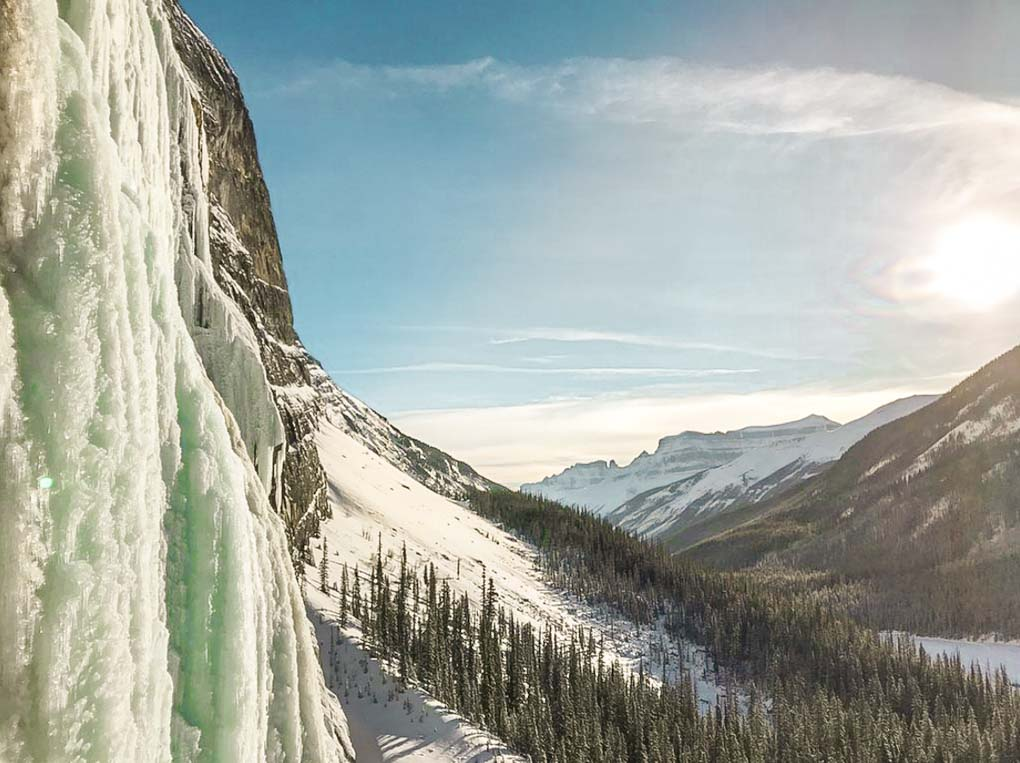 The views from an ice climbing tour in Banff