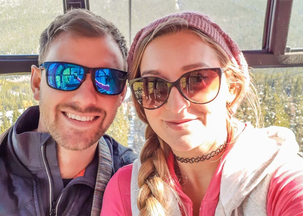Bailey and Daniel take a selfie on the Banff Gondola