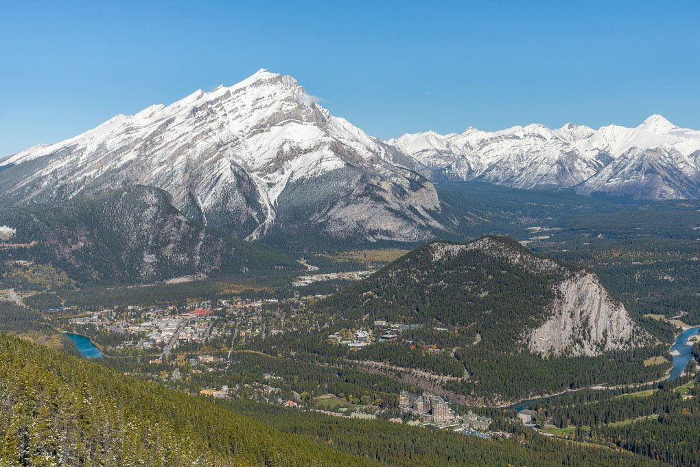 The views on the Banff Gondola in Canada looking down at Banff and Mt Rundle
