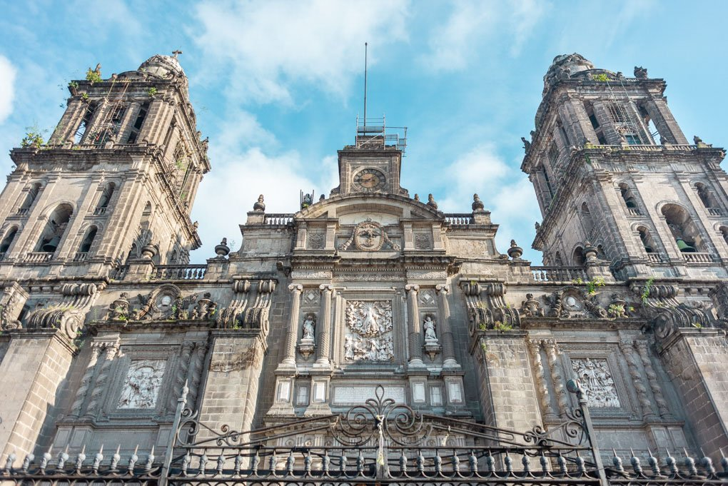 The central cathedral in Mexico City, Mexico, one of the best areas to stay in Mexico City and find a hostel
