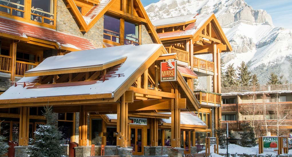 The front of the Moose Hotel and Suites in Banff, Alberta