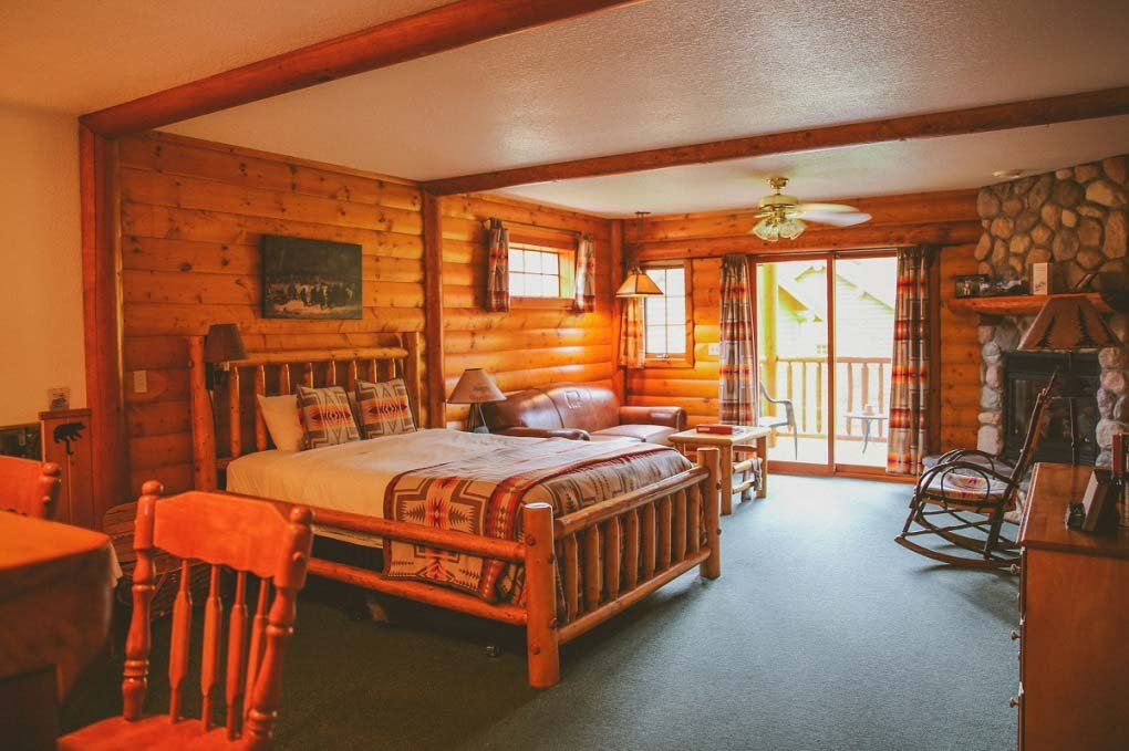 A room at the Baker Creek Mountain Resort in Banff National Park