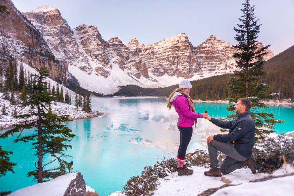 Me proposing on the rock pile at Lake Moraine in Banff National Park