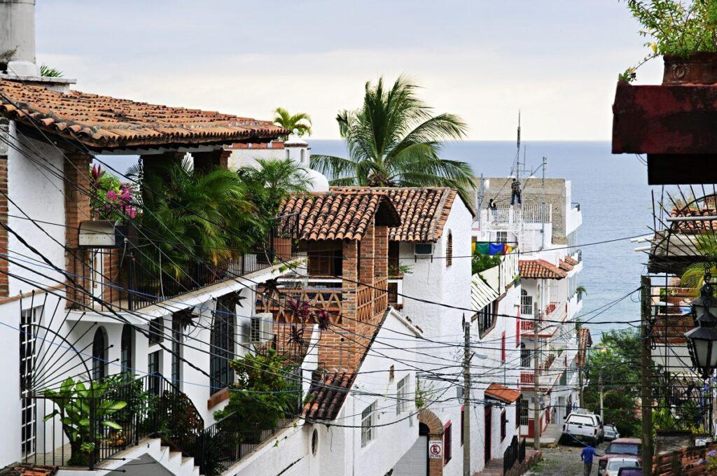 a city street in downtown puerto vallarta