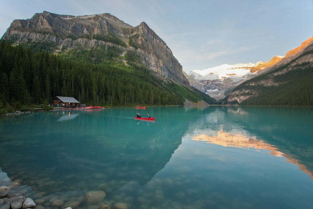 A person canoeing on Lake Louise Canada