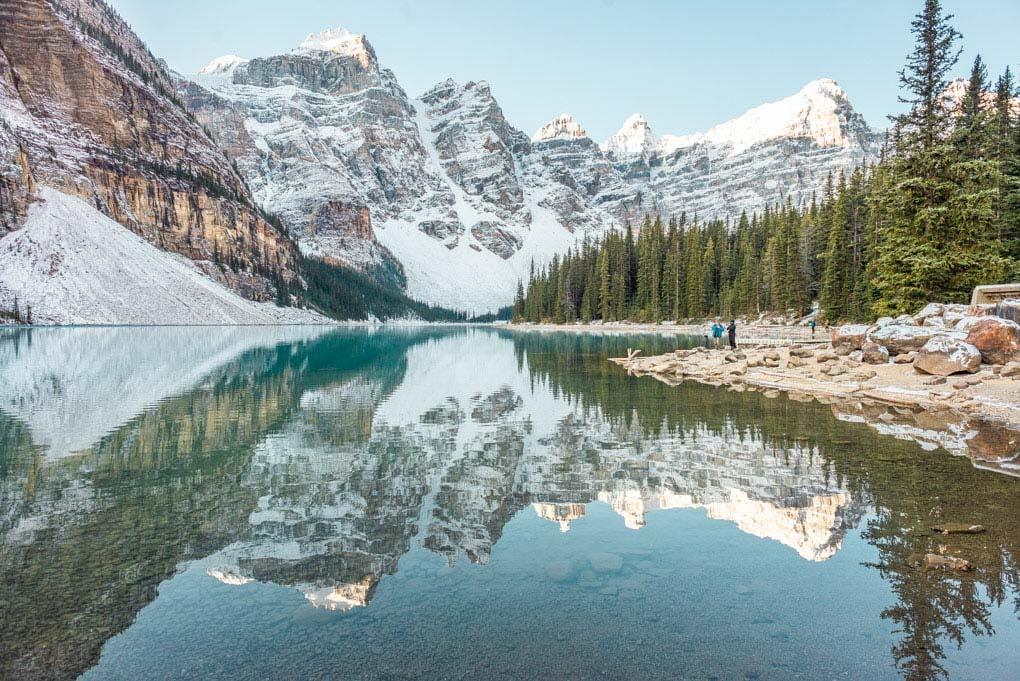 Reflective views at Lake Moraine near Banff at sunrise